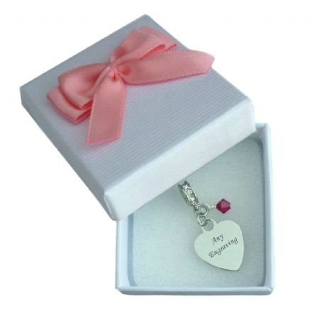 Birthstone Charm, Heart with Engraving